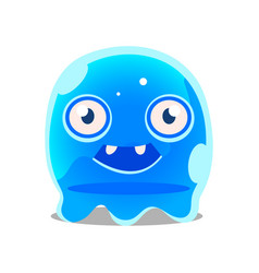 funny cartoon friendly blue slimy monster cute vector image