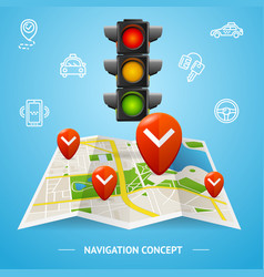 Navigation concept card or poster vector