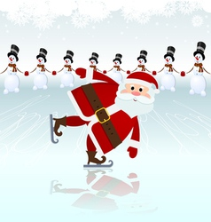 Santa claus ice skating vector