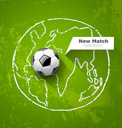 Soccer ball on map world design vector image