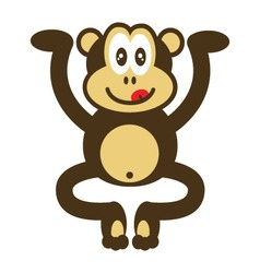 Cute monkey drawing vector