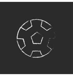 Soccer ball icon drawn in chalk vector