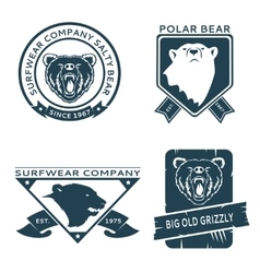 Retro vintage bear head logo templates set vector