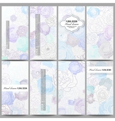 Set of modern flyers hand drawn floral doodle vector