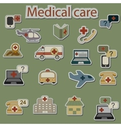 Emergency and medical care icons set vector
