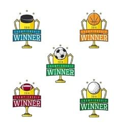 Set of labels of sport winner vector image