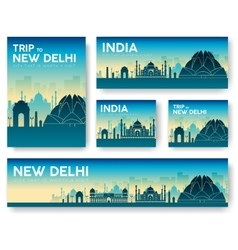 India landscape banners set design vector
