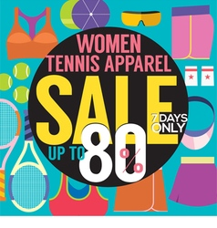 Women tennis apparel sale up to 80 percent vector