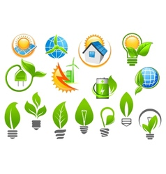 Abstract eco or green energy icons vector image