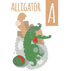 Alligator with colorful background eating a vector