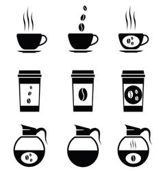 Black coffee icons set vector