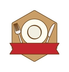 Brown table with plate fork and knife vector