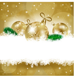 christmas background with baubles and copy space vector image