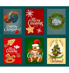 Christmas day festive poster and greeting card set vector