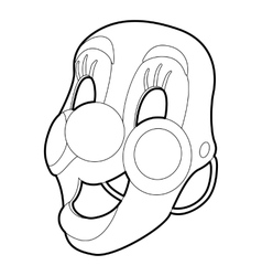 Clown mask icon outline style vector