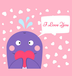 cute funny whale with heart vector image