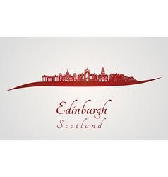 Edinburgh skyline in red vector image vector image