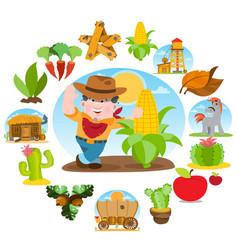 Farmer and a large ear of corn agricultural vector