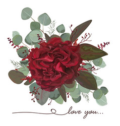 Floral bouquet design garden red burgundy rose vector