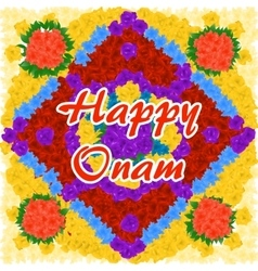 Flower background for indian festival happy onam vector