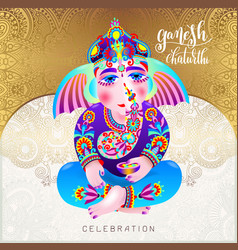 Ganesh chaturthi beautiful greeting card or poster vector