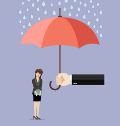 hand holding an umbrella protecting business woman vector image vector image