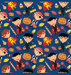 happy boys in halloween costumes with sweets vector image