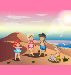 Happy family on summer vacation vector