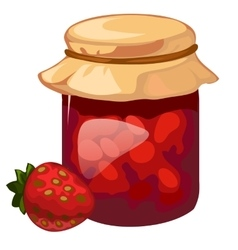 Jar of homemade strawberry jam dessert vector