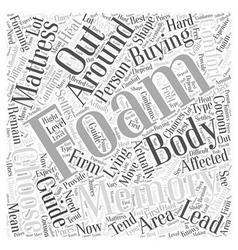 Memory foam mattress buying guide word cloud vector