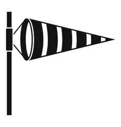 Meteorology windsock inflated by wind icon vector