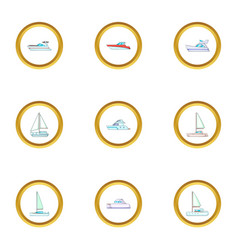 Pleasure boat icons set cartoon style vector