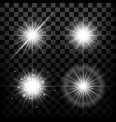 realistic star lights and glow light beam or vector image vector image