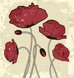 Retro style poppy flowers vector