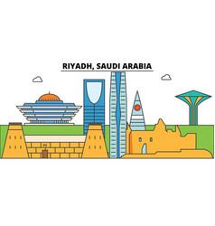 Riyadh saudi arabia outline skyline arab flat vector