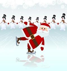 Santa claus ice skating vector