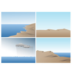 scene set with ocean sand dunes and hills vector image