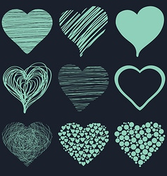 Set of hand drawn sketch hearts for Valentines Day vector image