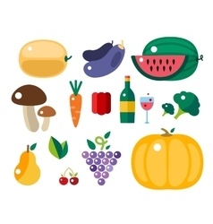 Set of harvest cartoon fruit icons vector