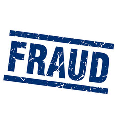 Square grunge blue fraud stamp vector