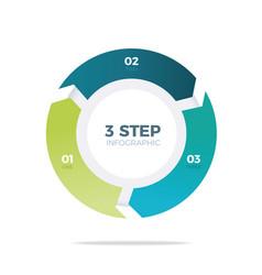 three step circle infographic vector image