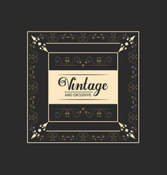Vintage and exclusive badge lettering elegant vector