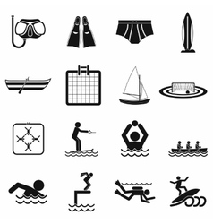Water sport black simple icons vector image