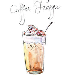 Watercolor coffee frappe vector
