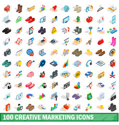 100 creative marketing icons set isometric style vector