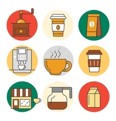 Coffee time line art thin icons set vector