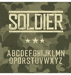 Soldier alphabet Military deisgn set Army design vector image