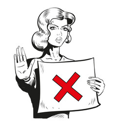 woman showing stop sign line vector image