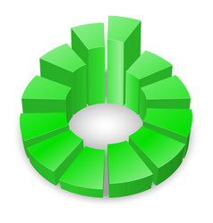 Green circular diagram with columns isolated on vector