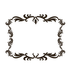 Vintage baroque frame scroll floral ornament vector